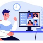 Worker using computer for collective virtual meeting and group video conference. Man at desktop chatting with friends online. Vector illustration for videoconference, remote work, technology concept